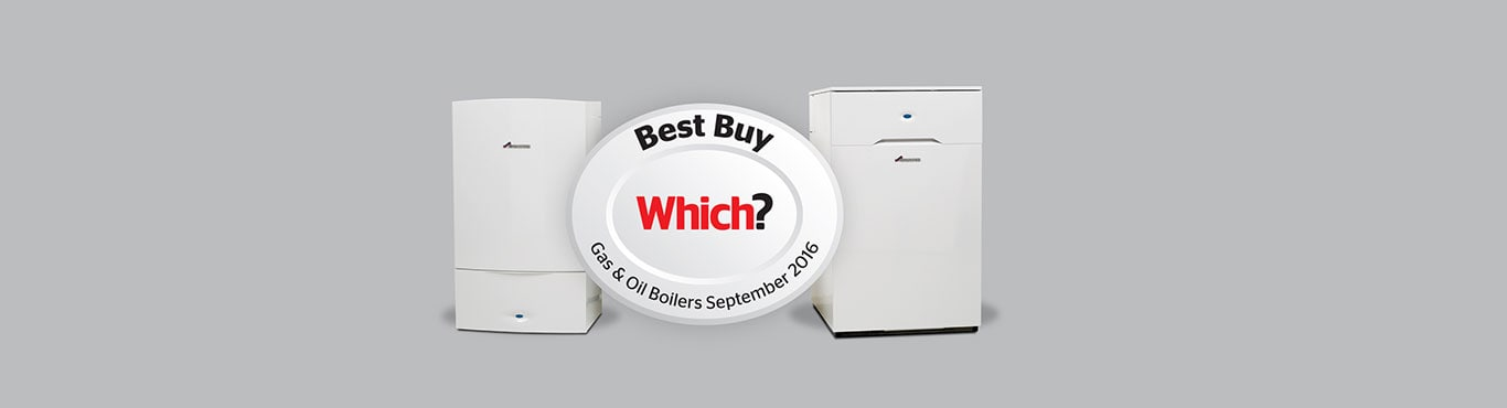 Five boilers in a row with with Which? Best Buy logo superimposed.